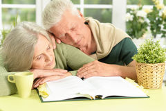Couples supérieurs dormant avec le livre Photo libre de droits