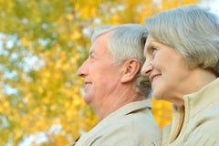 Couples supérieurs en stationnement Photos libres de droits