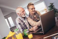 Couples supérieurs enthousiastes regardant un ordinateur portable ensemble Images stock