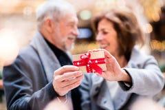 Couples supérieurs faisant des achats de Noël Image stock