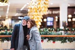 Couples supérieurs faisant des achats de Noël Photos stock