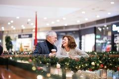 Couples supérieurs faisant des achats de Noël Images stock
