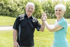 Couples supérieurs fonctionnant en parc faisant haut cinq photo stock