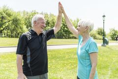 Couples supérieurs fonctionnant en parc faisant haut cinq image libre de droits