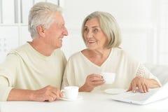 Couples supérieurs heureux à la maison Photos stock