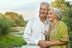 Couples supérieurs heureux au lac Photo libre de droits