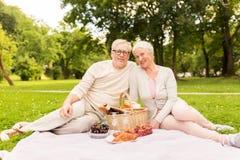 Couples supérieurs heureux ayant le pique-nique au parc d'été Photographie stock libre de droits