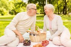 Couples supérieurs heureux ayant le pique-nique au parc d'été Photo libre de droits