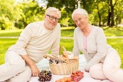 Couples supérieurs heureux ayant le pique-nique au parc d'été Image stock