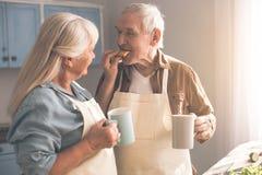 Couples supérieurs heureux buvant la boisson chaude avec des bonbons à la maison Images stock