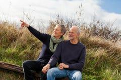 Couples supérieurs heureux détendant ensemble le soleil photos stock
