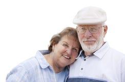 Couples supérieurs heureux d'isolement sur le blanc Images stock