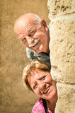 Couples supérieurs heureux dans l'amour pendant la retraite Photos stock