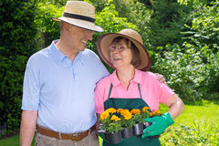 Couples supérieurs heureux dans le jardin avec l'appartement des fleurs Photographie stock libre de droits