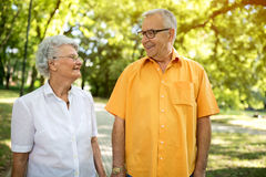 Couples supérieurs heureux de sourire au parc Photos stock