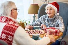 Couples supérieurs heureux dinant sur Noël Images libres de droits