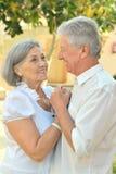 Couples supérieurs heureux en été Photo libre de droits