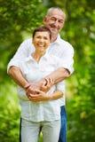 Couples supérieurs heureux en nature Photos libres de droits