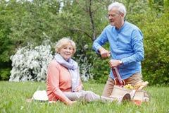 Couples supérieurs heureux extérieurs Photographie stock