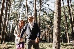 Couples supérieurs heureux marchant en parc photographie stock