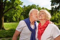 Couples supérieurs heureux riant ensemble en été Images stock
