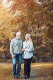 Couples supérieurs heureux souriant dehors en nature Photographie stock libre de droits