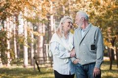 Couples supérieurs heureux souriant dehors en nature Image stock