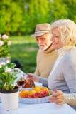 Couples supérieurs mangeant le gâteau dans un jardin Photos libres de droits