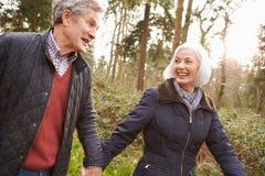 Couples supérieurs marchant par la campagne d'hiver Image stock