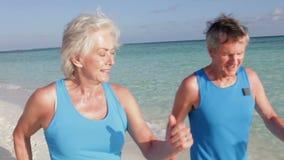 Couples supérieurs marchant sur la belle plage clips vidéos