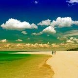 Couples supérieurs non définis marchant sur la plage Image libre de droits