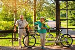 Couples supérieurs près de bicyclette tandem Image libre de droits