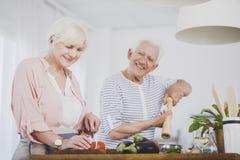 Couples supérieurs préparant le repas sain Images stock