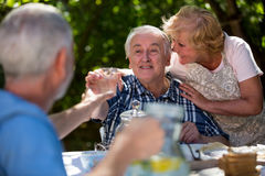 Couples supérieurs prenant le petit déjeuner dans le jardin Images stock