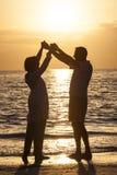 Couples supérieurs retenant la plage tropicale de coucher du soleil de mains Photo stock