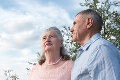 Couples supérieurs s'embrassant dans la campagne Images stock