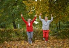Couples supérieurs s'exerçant en parc d'automne Photos stock