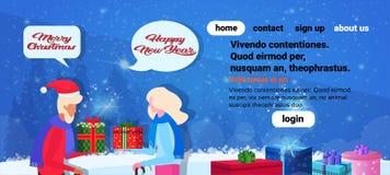 Couples supérieurs se donnant la parole de bulle de causerie de concept de Joyeux Noël de bonne année de boîte-cadeau fond bleu illustration stock
