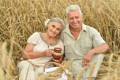 Couples supérieurs se reposant au champ d'été Photos stock