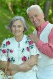 Couples supérieurs se reposant au parc Photos libres de droits