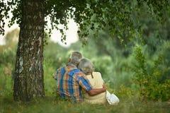 Couples supérieurs se reposant au parc Image libre de droits