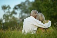 Couples supérieurs se reposant au parc Photographie stock