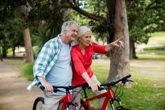 Couples supérieurs se tenant avec la bicyclette en parc Image stock