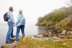 Couples supérieurs se tenant prêt un lac Image stock