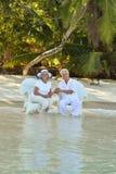Couples supérieurs sur la plage Image stock