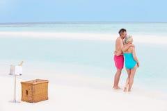 Couples supérieurs sur la plage avec Champagne Picnic de luxe Image stock