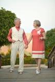 Couples supérieurs sur la promenade Images stock