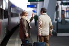 Couples supérieurs sur la station de train tirant le bagage de chariot Photo stock