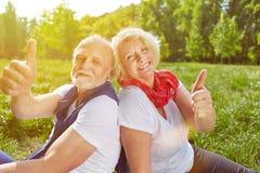 Couples supérieurs tenant des pouces dans des vacances d'été Images stock