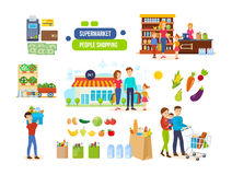 Couples in supermarkets, shopping malls, buying natural foods, fruits, vegetables. Stock Images